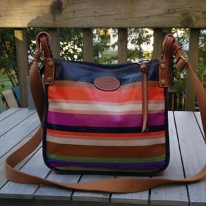 FOSSIL COATED CANVAS MULTI COLOR STRIPED CROSSBODY